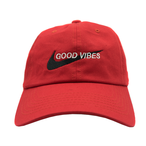 Good Vibes Dad Hat - Red
