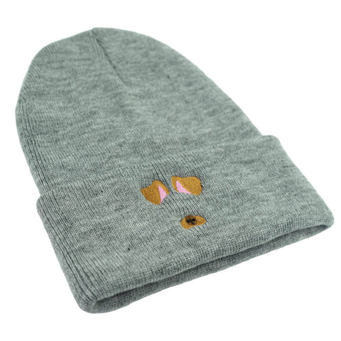 Dog Filter Beanie - Grey