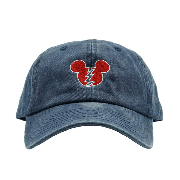 Broken Mickey Dad Hat - Washed Blue
