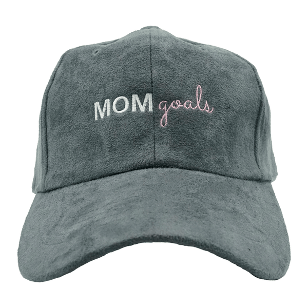 Mom Goals Dad Hat - Grey Suede