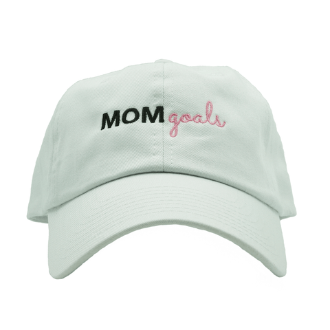Mom Goals Dad Hat - White