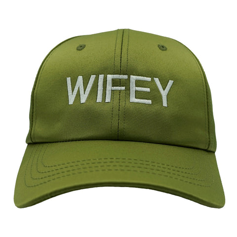 Wifey Dad Hat - Olive Satin