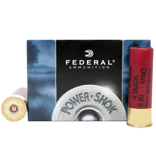 "12 Gauge - Power-Shok, 3"", 41 Pellets, #4 Buckshot, Per 5 - luveres"