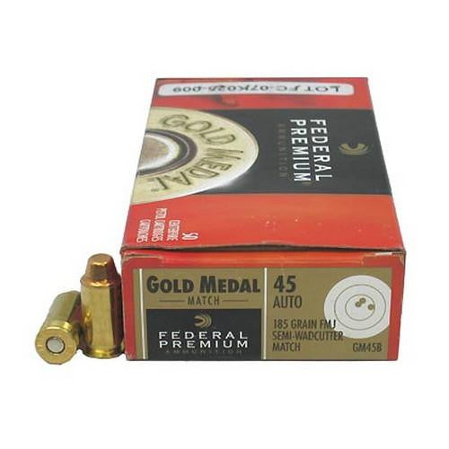 .45 Automatic - Premium Gold Medal Match, 185 Grains, Full Metal Jacket Semi-Wadcutter, Per 50