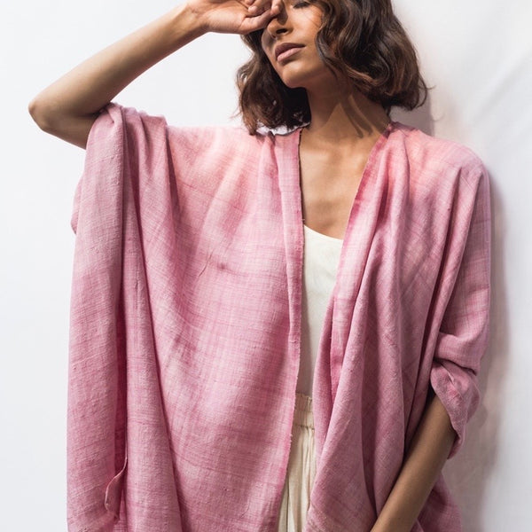 Mulberry Silk Shawl - Natural Dye -Soft Pink