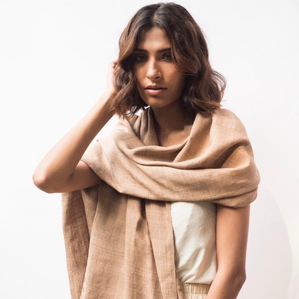 Ahimsa Silk Shawl - Walnut colour - Natural Dye