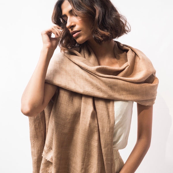 Mulberry Silk Vegan Silk Shawl - Natura Dyes- Soft Walnut colour