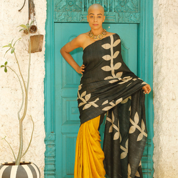 Organic Silk Saree Hand Woven and Hand Block printed