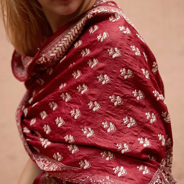 Tussar Hand Embroidered Silk in Ruby Red