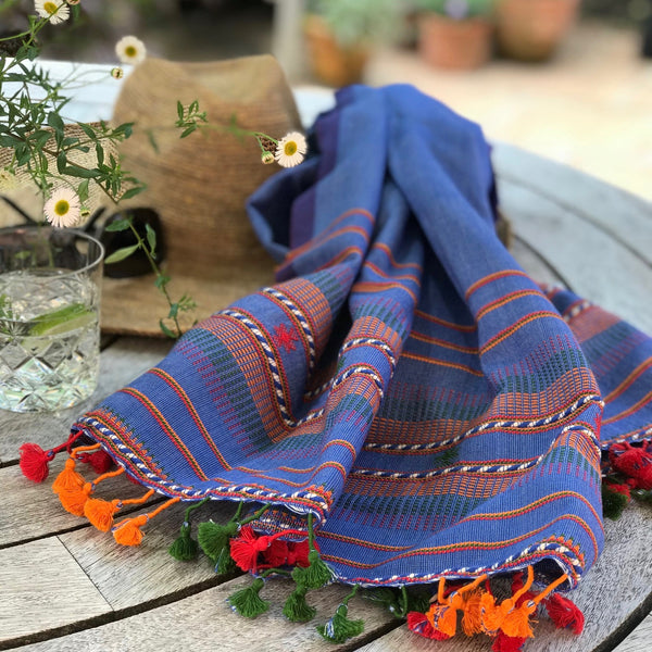Lalji - Hand Woven Cotton Scarf - With Pom-Poms