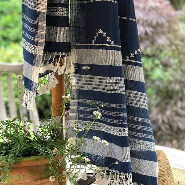 Organic Kala Cotton Scarf- Navy White