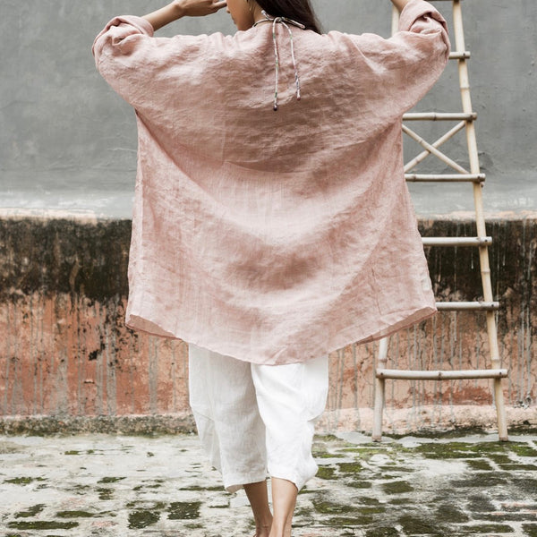 Dusty Pink Linen Lounger Jacket