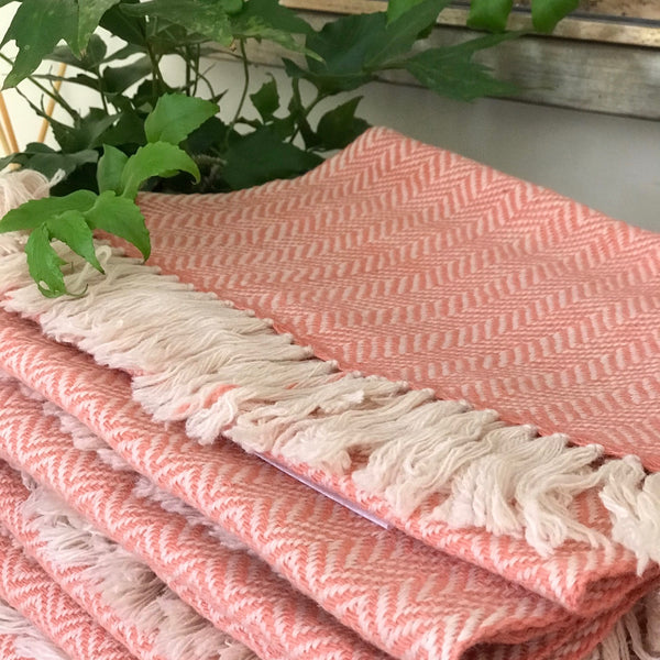 Pink Hand woven Scarf- Natural Dye