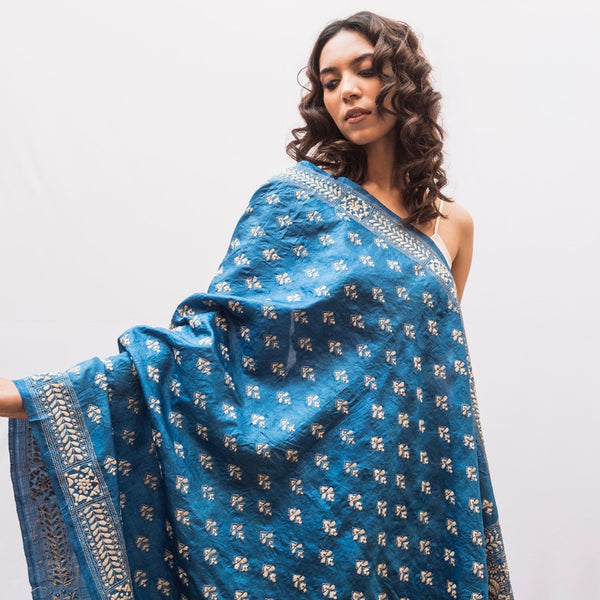 Pure Silk  All over Hand Embroidered Wrap -Sapphire Blue