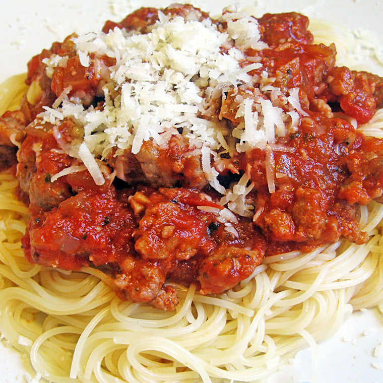 Luigi's Pizza and Pasta of North Hills - Glenside PA. Family Sized Spaghetti with Sausage Italian Dinner, pickup or delivery.