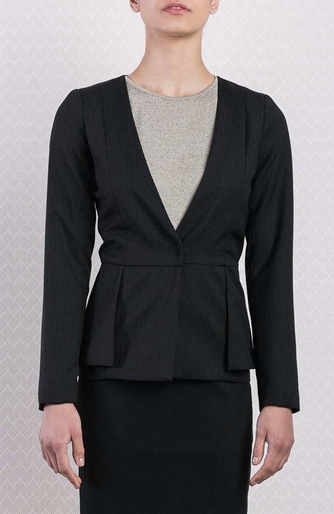Collarless Striped Wool Peplum Blazer