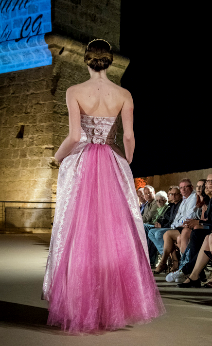 Pink Brocade Ball Gown With Train