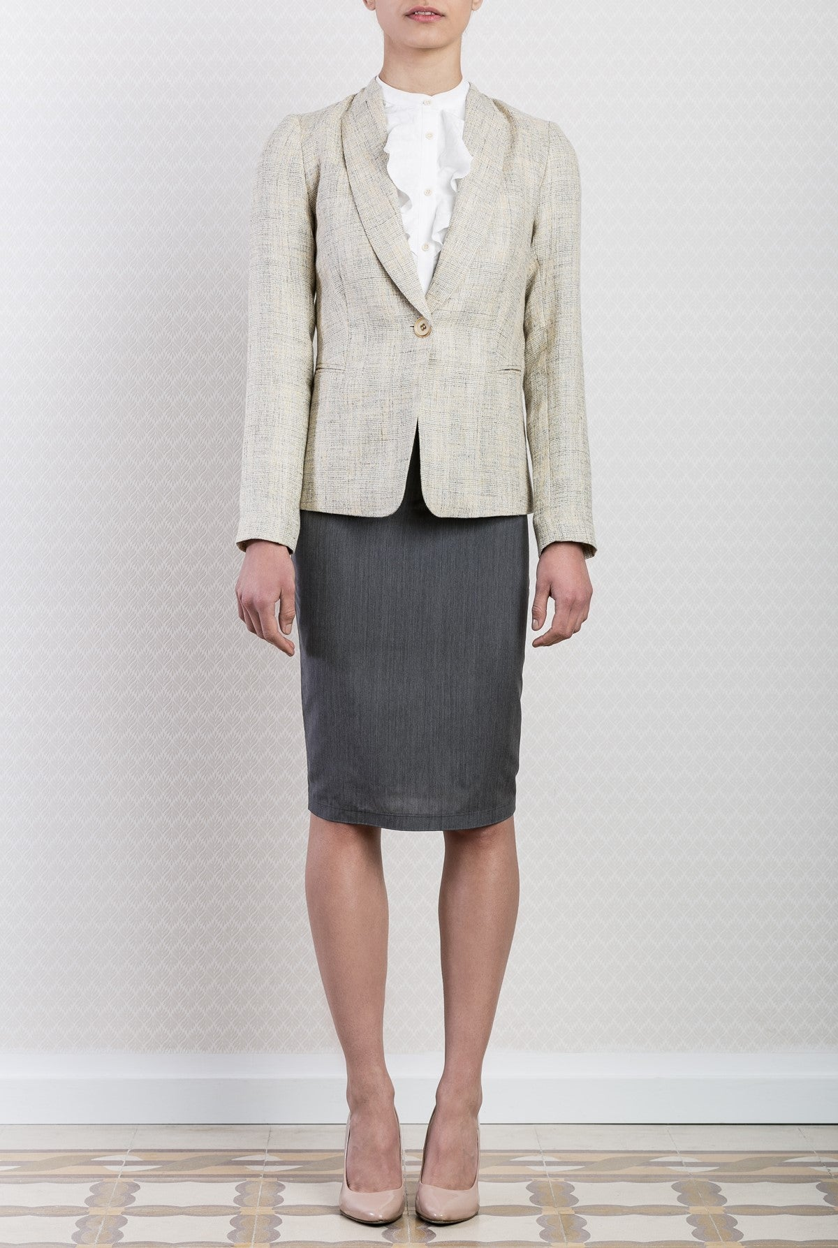 Cream Linen Tweed Blazer