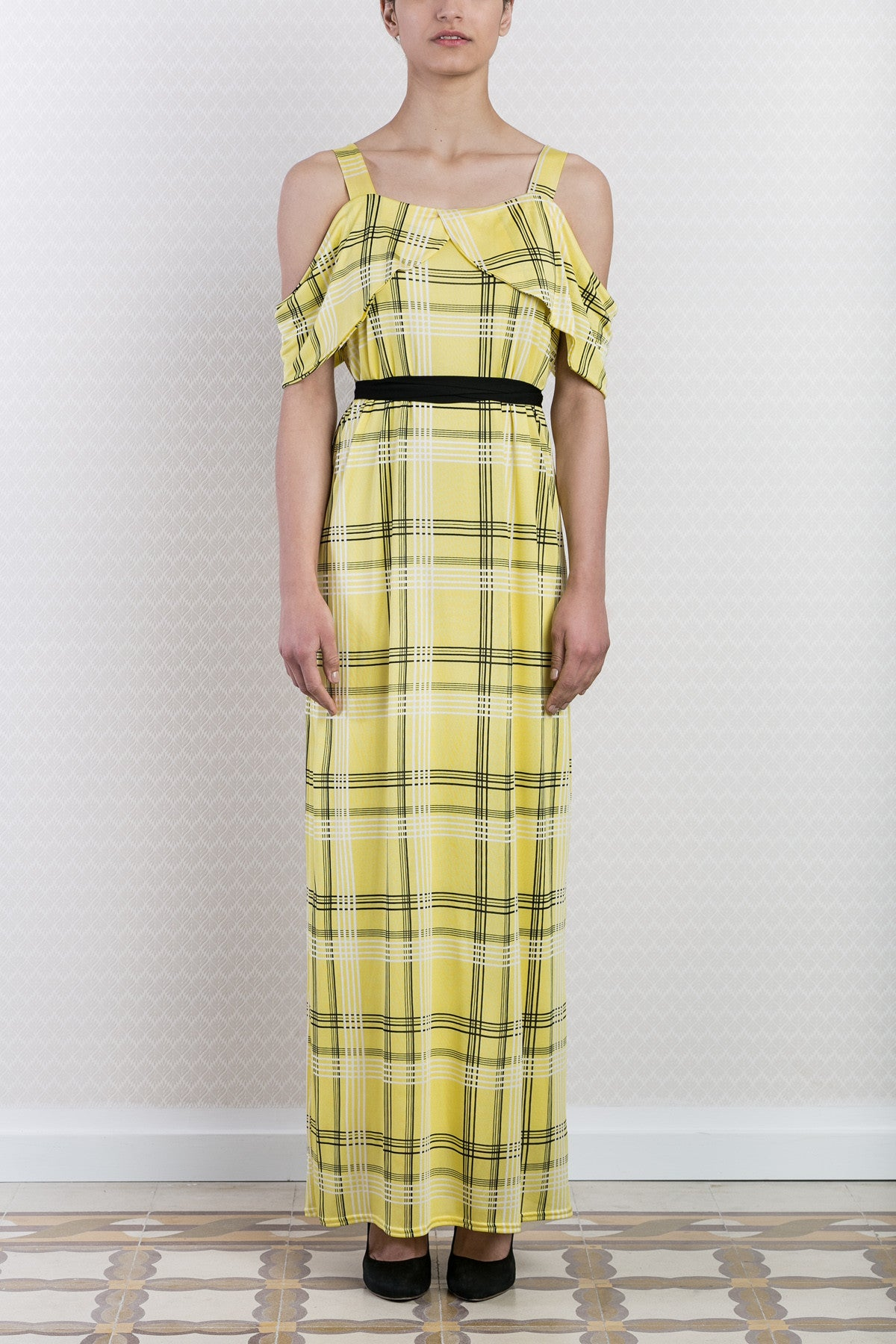 Yellow Check Print Dress Maxi Dress