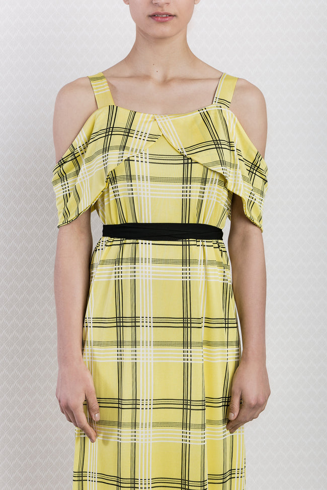 Check Print Yellow Off-shoulder Dress