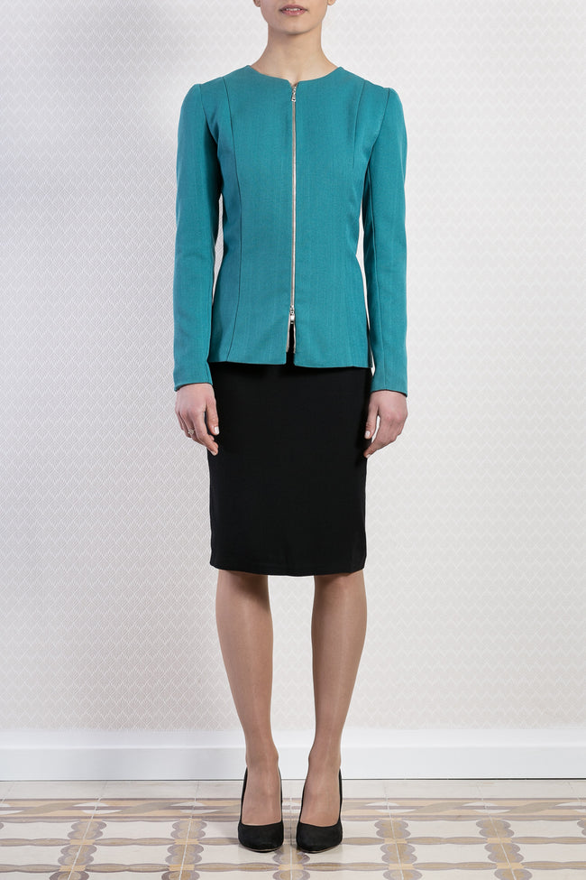 Collarless Zip Blazer in Turquoise