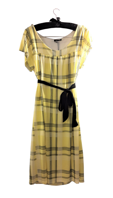 Yellow Check Print Cap-Sleeve Dress