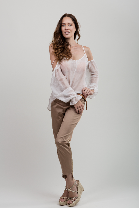 Beige Cropped Side Detail Pant
