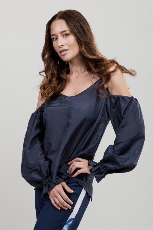 Off-Shoulder Balloon-Sleeve Blouse
