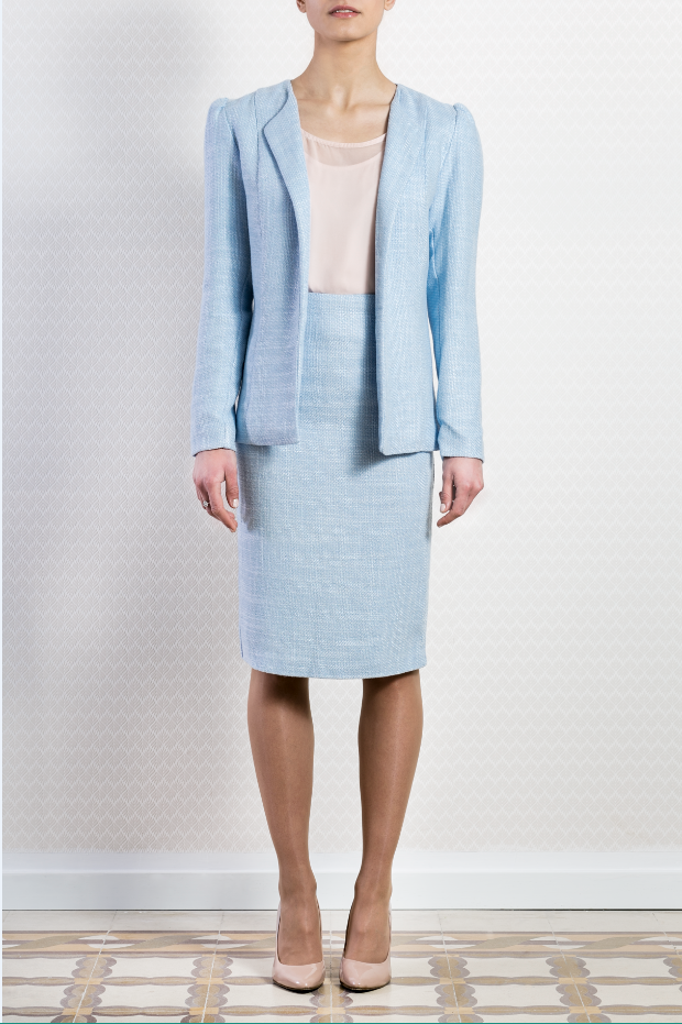 Collarless Pastel Blue Open Blazer