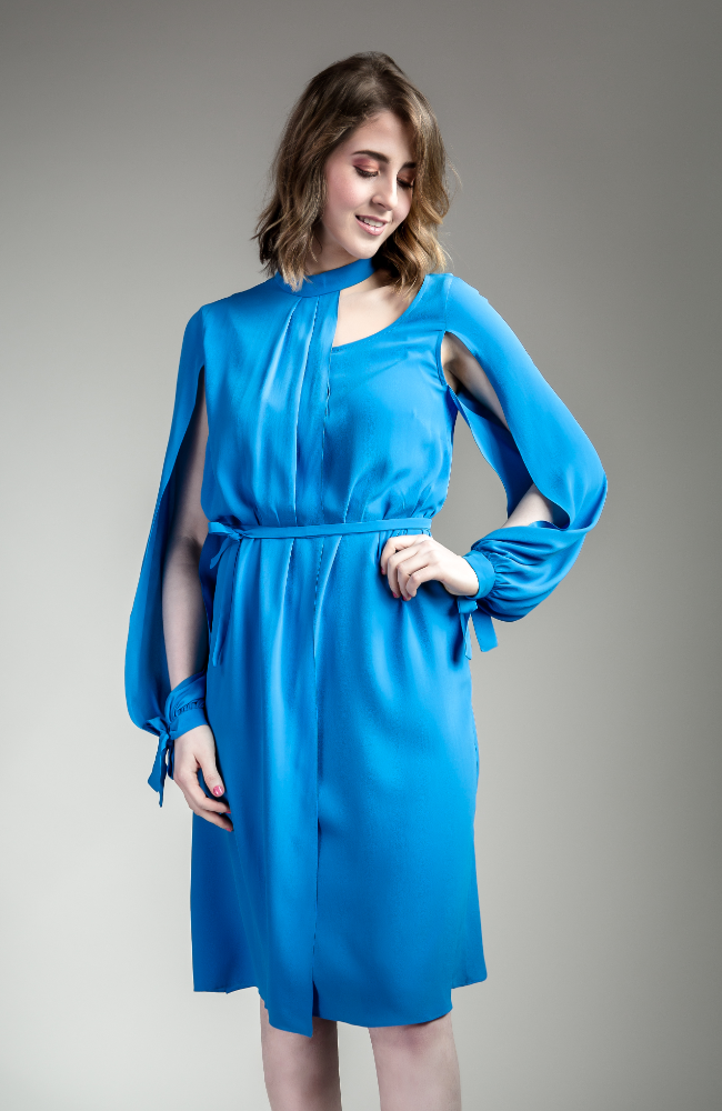 Bright Blue Open Sleeve Dress