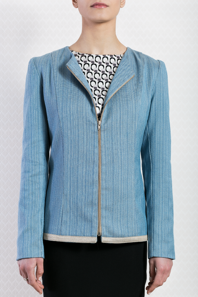 Ladies Formal Light Blue Blazer Designer Pattern