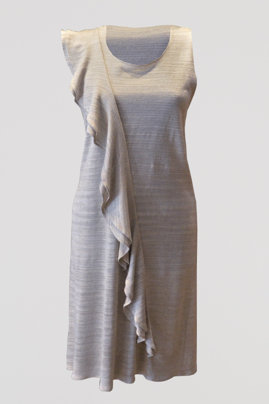 Linen Ruffle Shift Dress