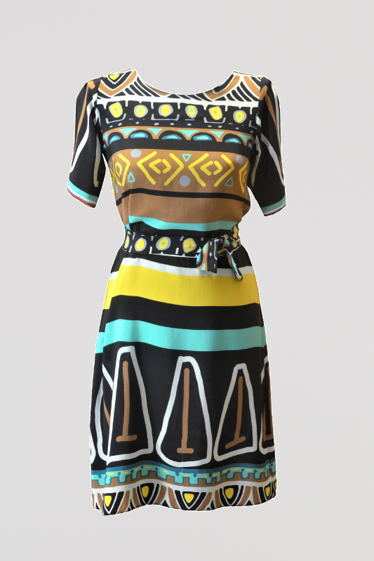 Belted Silk Sheath Dress