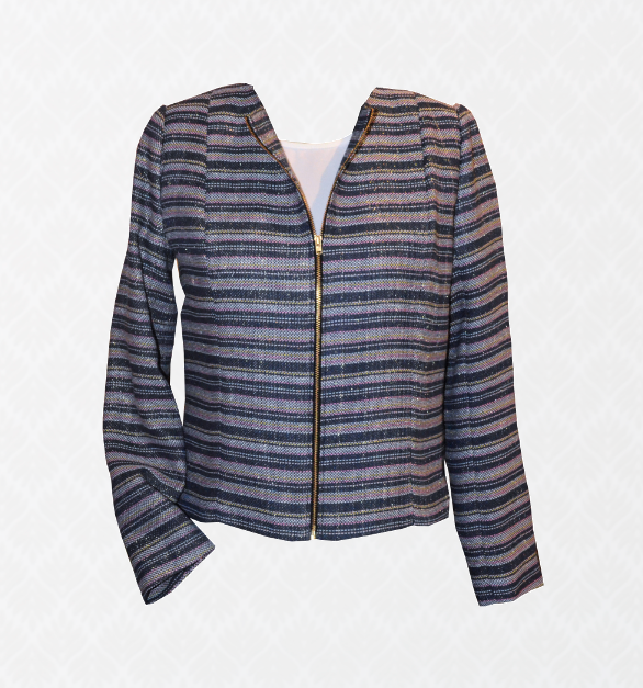 Navy Tweed Zip Blazer