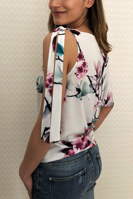 Off-Shoulder Tie Blouse