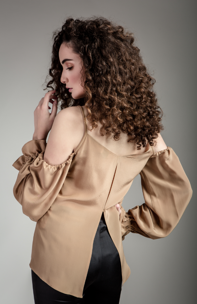 Gold Silk Balloon Sleeve Blouse