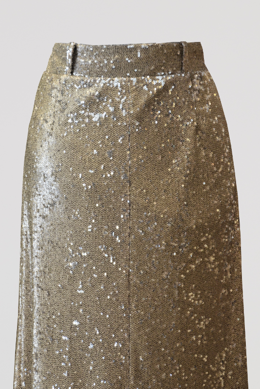 Gold Sequin Column Skirt