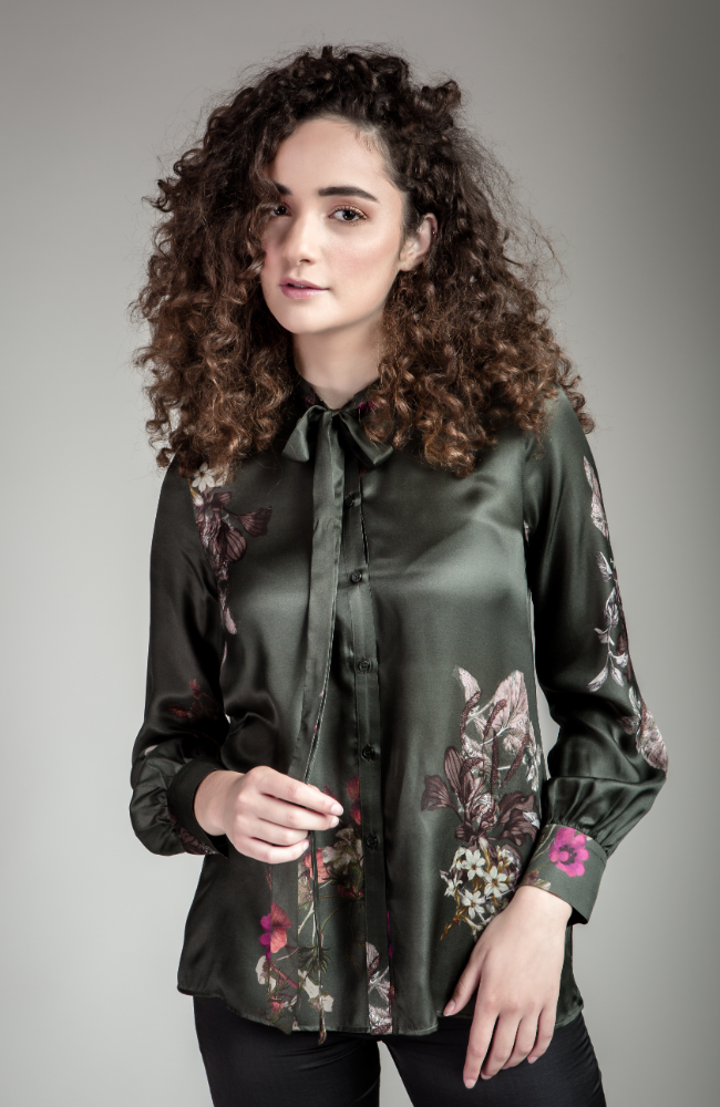 Green Floral Tie-Neck Blouse