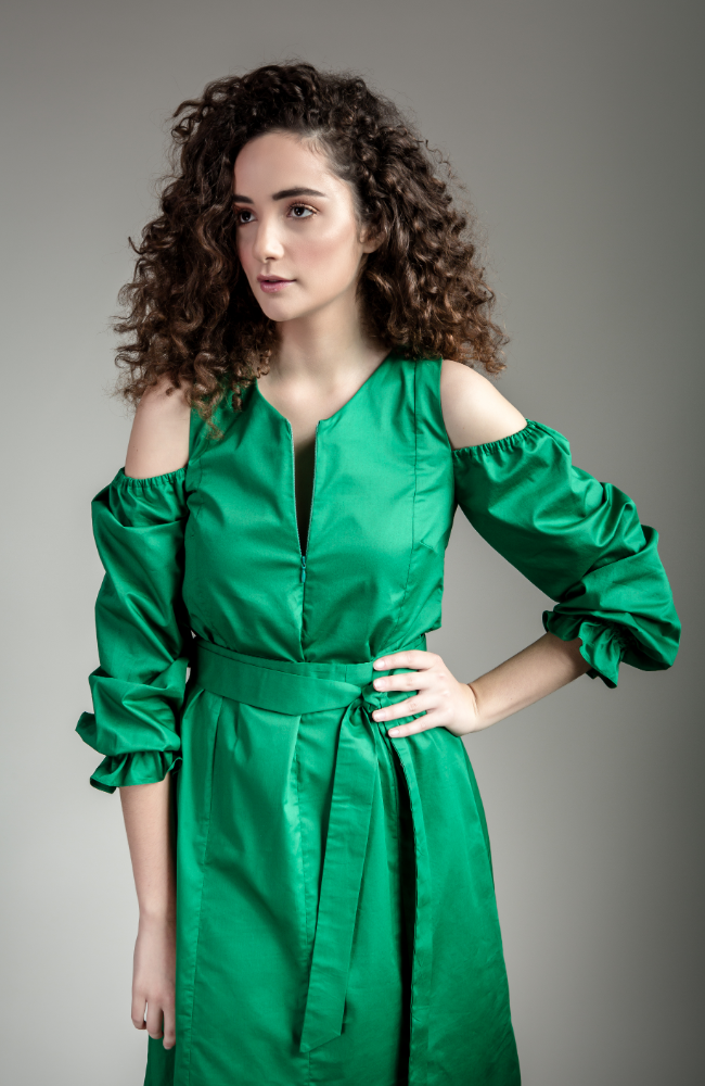 Cold-Shoulder Green Dress