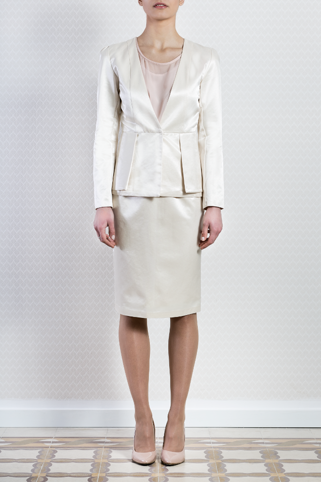 Ladies Formal White Cream Cotton Wedding Blazer Skirt Suit