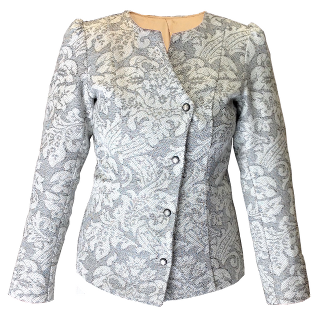 Collarless Jacquard Tweed Blazer