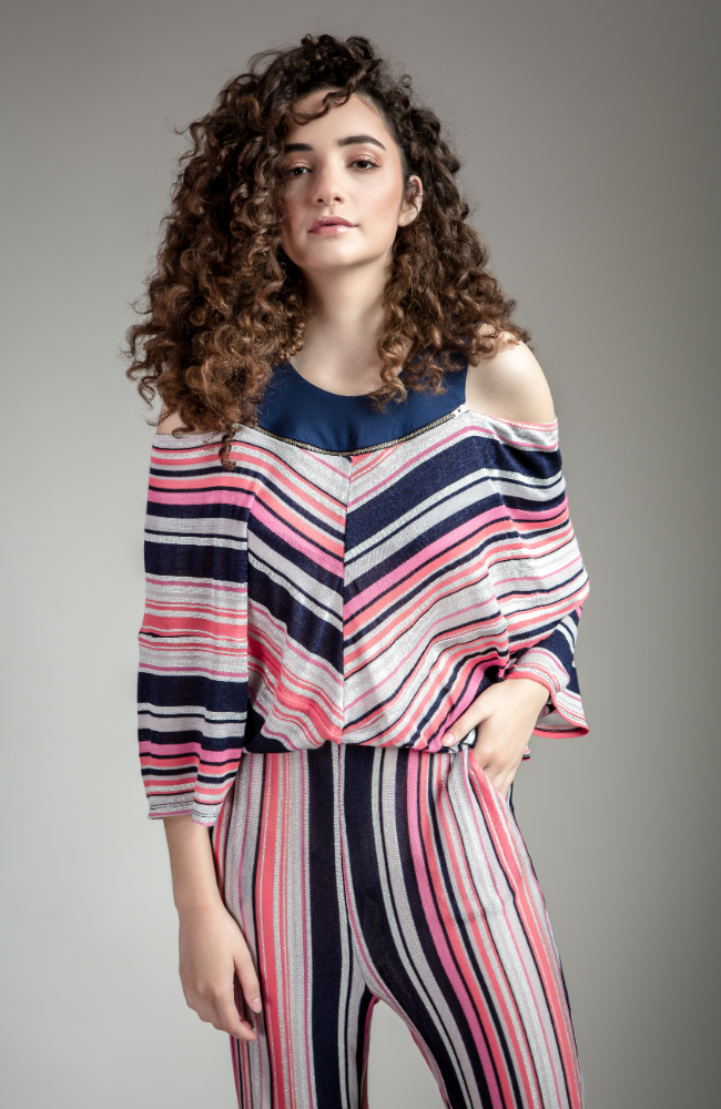 8c9d58eece2 Pink and Navy Striped Jumpsuit
