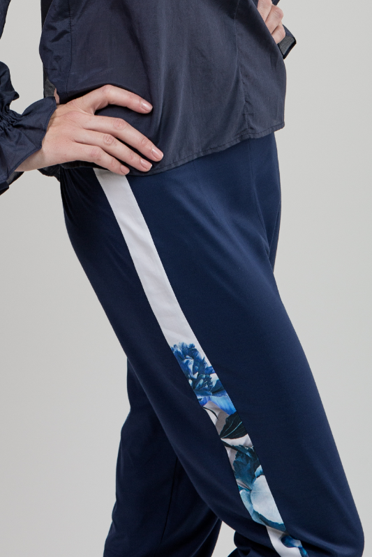 Blue Cropped Side Detail Pant