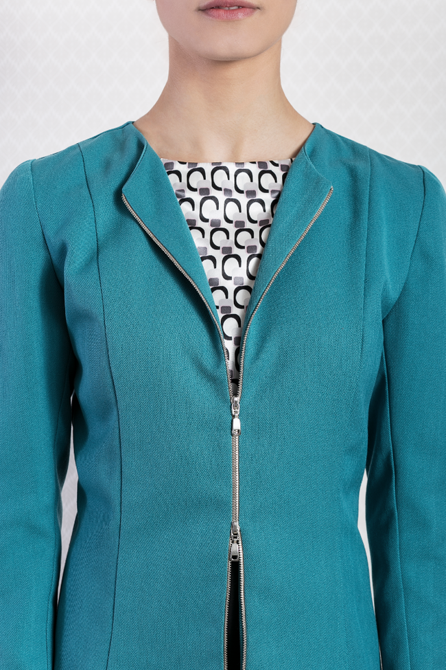 Ladies Formal Turquoise Blue Cotton Zip Blazer Designer