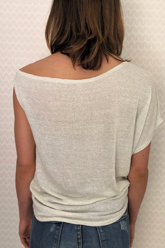 Shimmery Off-Shoulder Cotton Tee