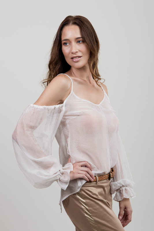 Silk Off-Shoulder Blouse