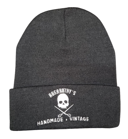 Abernathy's Skull and Scissors Logo Embroidered Beanie