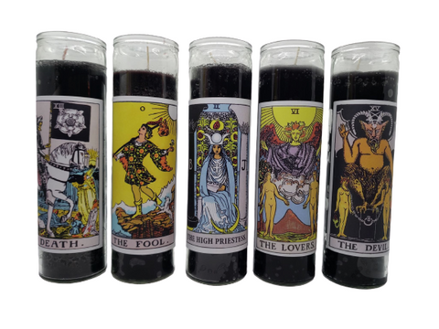 Goathead n' Bunny Black Tarot Card Prayer Candle