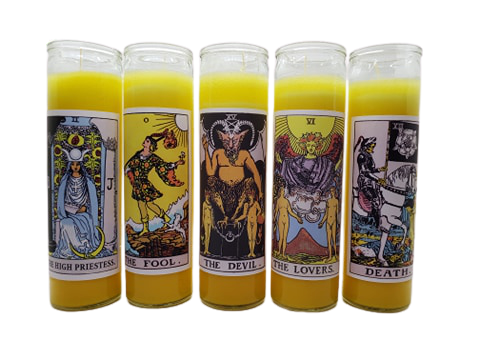 Goathead n' Bunny Yellow Tarot Card Prayer Candle