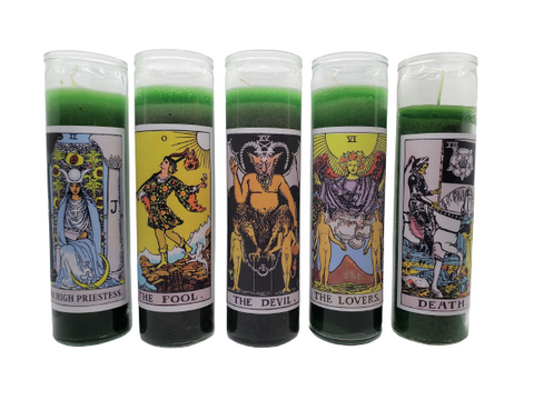 Goathead n' Bunny Green Tarot Card Prayer Candle